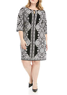 Sandra Darren Plus Size Bar Neck Puff Print Dress