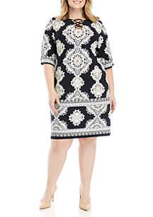 96ca2c25f7e ... Sandra Darren Plus Size X Neck Puff Dress