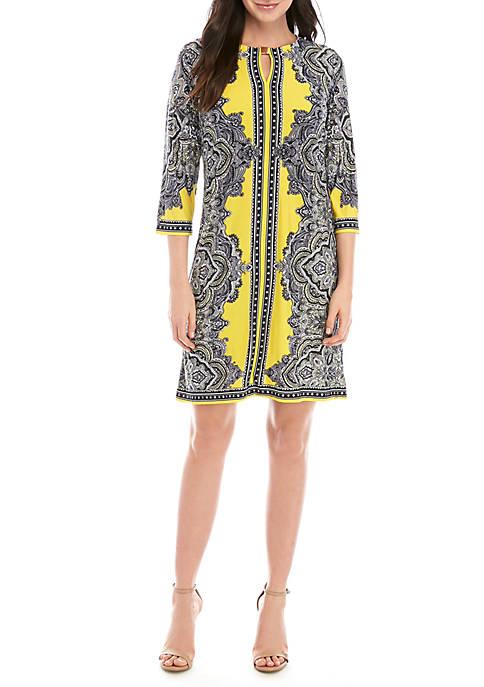 Sandra Darren Hardware Neck Print Dress