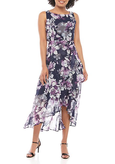 Sandra Darren Sleeveless Floral Chiffon Dress