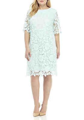 3f7c8940a42 Sandra Darren Plus Size Lace Dress ...