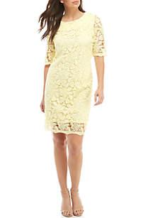 Sandra Darren Short Sleeve Lace Textured Dress