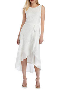 Sandra Darren Sleeveless Lace Wrap Dress