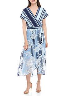 Sandra Darren Floral Wrap Maxi Dress