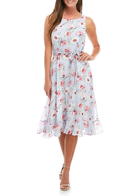 Day Striped Chiffon Floral Midi Dress