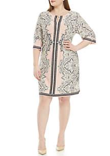 Sandra Darren Plus Size Bar Neck Print Dress