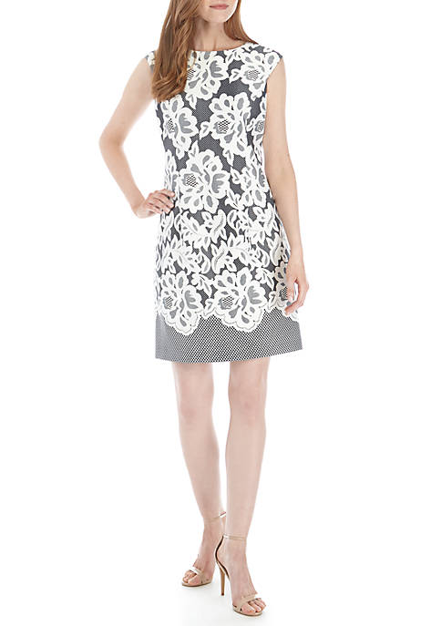 Sandra Darren Cap Sleeve Textured Print Sheath Dress