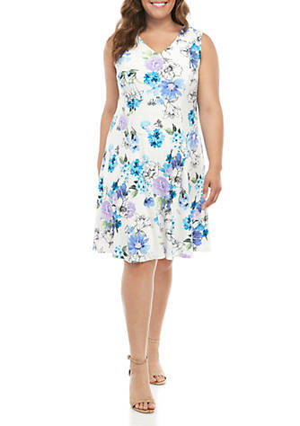 Sandra Darren Plus Size Sleeveless Floral Fit and Flare Dress