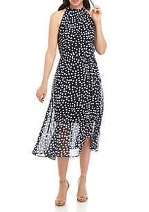 Sandra Darren Polka Dot Halter Dress