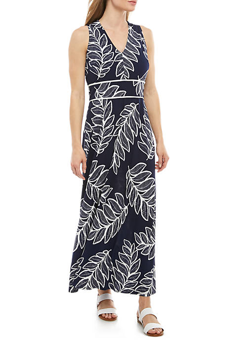 Sleeveless V Neck Leaf Print ITY Maxi Dress