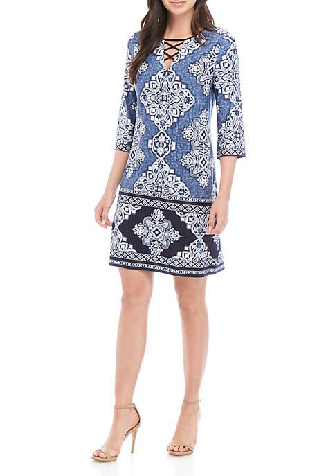 Sandra Darren X Neck Puff Denim Print Dress