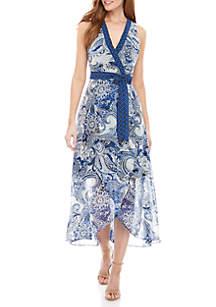 Sandra Darren Paisley Chiffon Wrap Maxi Dress