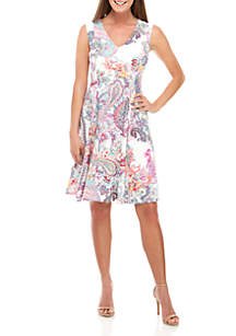 9efc0ad1bd4 ... Sandra Darren Sleeveless Paisley Fit and Flare Dress