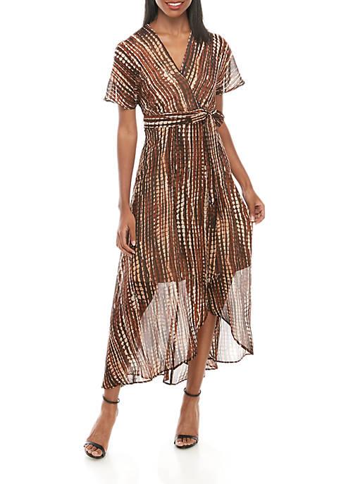 Short Sleeve Animal Chiffon Wrap Maxi Dress