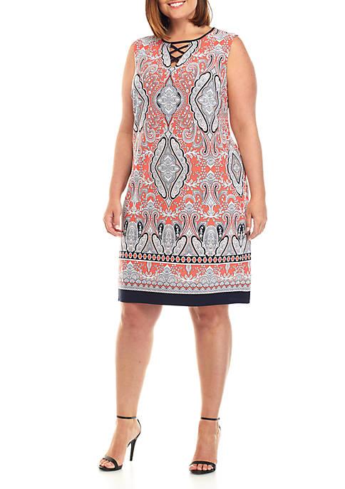 Sandra Darren Plus Size Sleeveless Coral Printed Dress