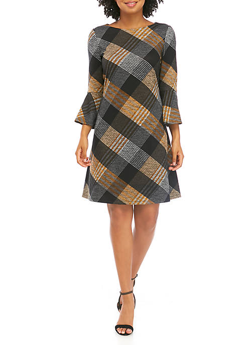 Womens Large Plaid Bell Sleeve Dress
