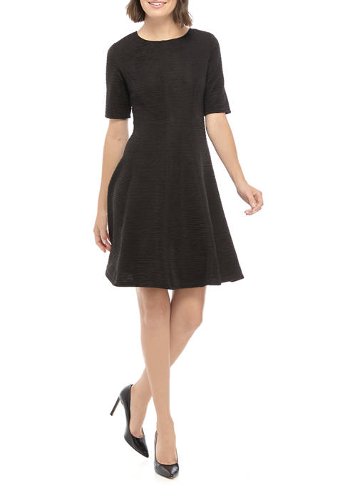 Womens Short Sleeve Textured Fit and Flare Dress