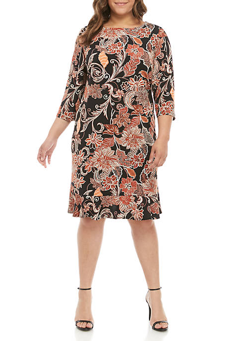 Plus Size 3/4 Sleeve Puff Print Dress with Flounce Hem