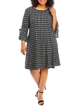 Plus Size Long Ruffle Sleeve Houndstooth Shift Dress