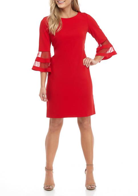 Womens Bell Sleeve with Mesh Insert Dress