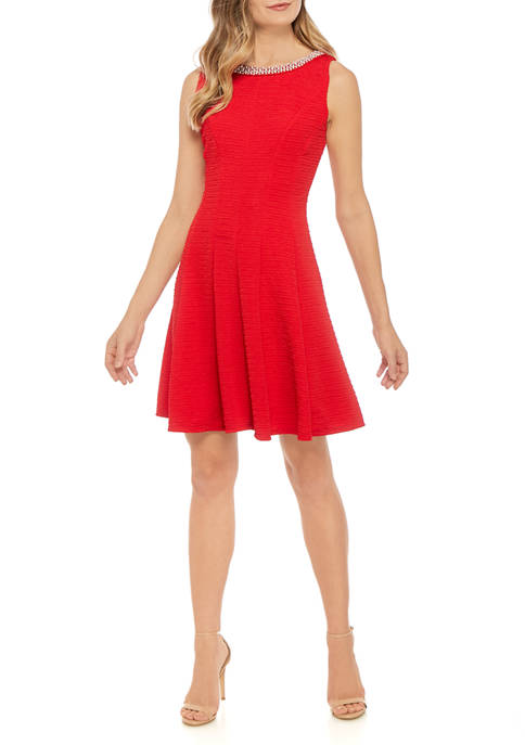 Sandra Darren Womens Pearl Neck Fit and Flare