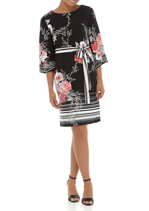 Womens 3/4 Puff Sleeve Floral Print Dress with Belt