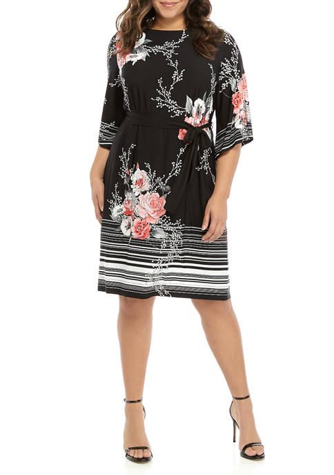 Plus Size 3/4 Sleeve Floral Dress with Belt