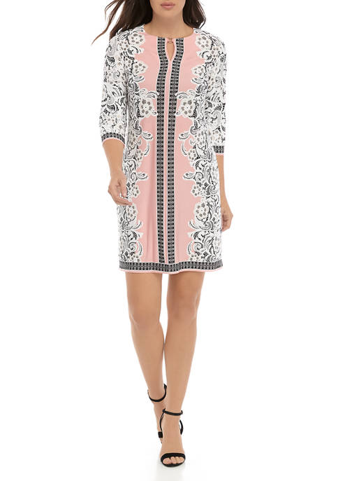 Sandra Darren Womens 3/4 Sleeve Puff Lace Dress