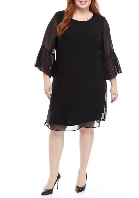 Plus Size  3/4 Sleeve Pleat Chiffon Dress