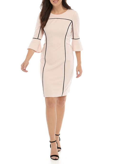 Womens 3/4 Bell Sleeve Scuba Crepe Dress with Piping