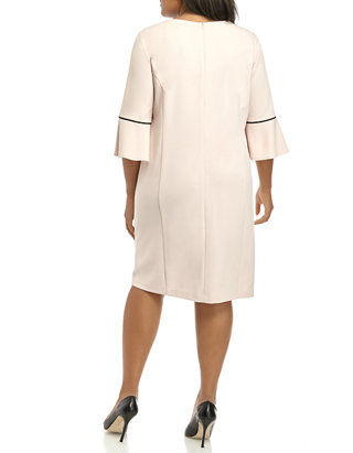 Plus Size 3/4 Bell Sleeve Scuba Crepe Dress with Piping