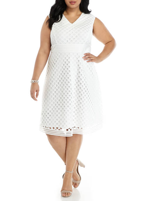 Plus Size V-Neck Circle Stripe Lace Fit and Flare Dress