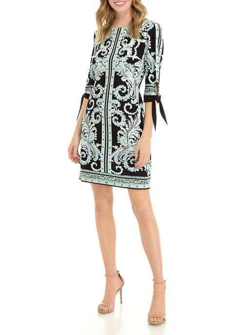 Womens Elbow Sleeve Paisley Shift Dress