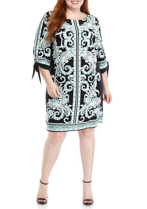 Sandra Darren Plus Size Tie Sleeve Paisley Border