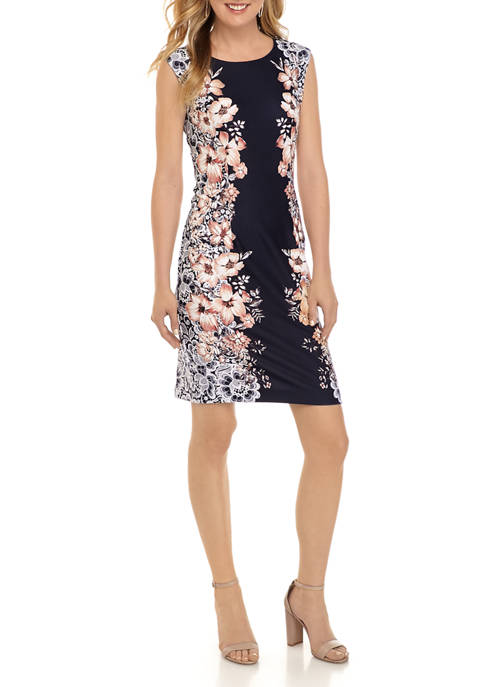 Womens Placed Floral Lace Print Sheath Dress