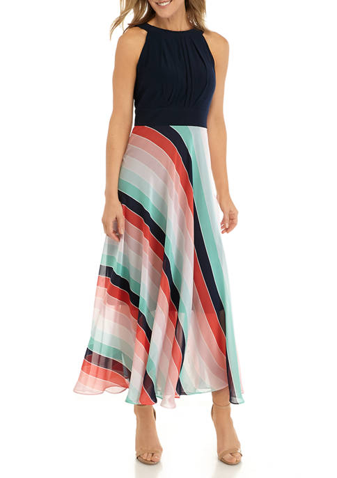Womens Halter Stripe Pleat Maxi Dress