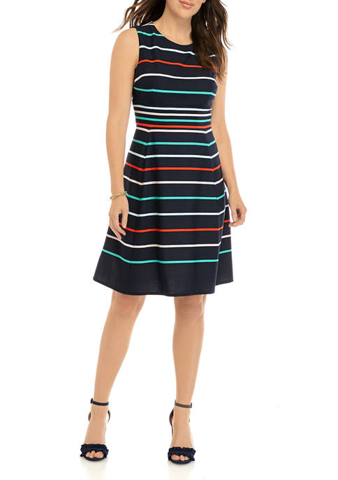Sandra Darren Womens Multi Stripe Sleeveless Fit and