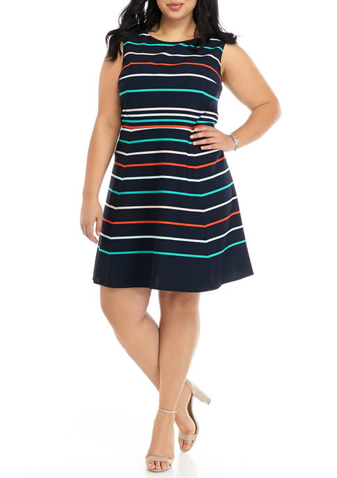 Plus Size Multi Stripe Sleeveless Fit and Flare Dress
