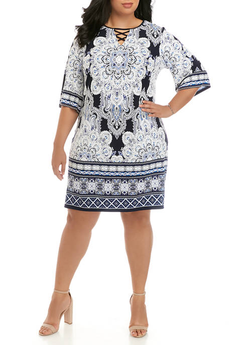 Plus Size Puff Paisley Dress