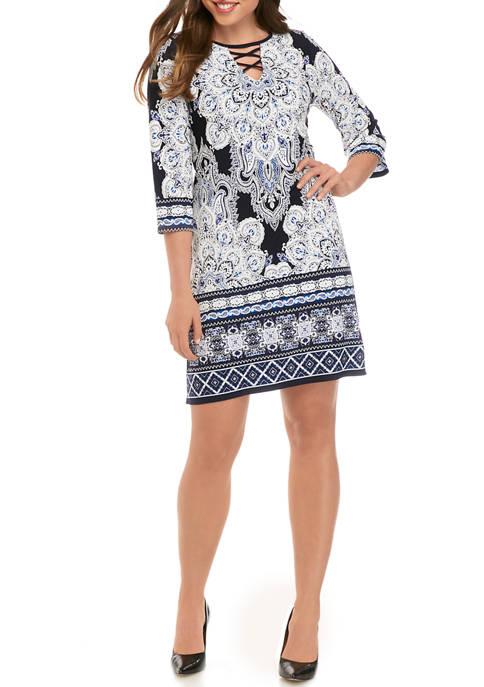 Sandra Darren Womens 3/4 Lace Up Neck Dress