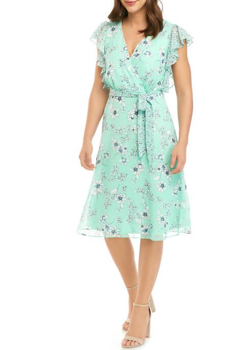 Womens Ruffle Sleeve Floral Wrap Dress