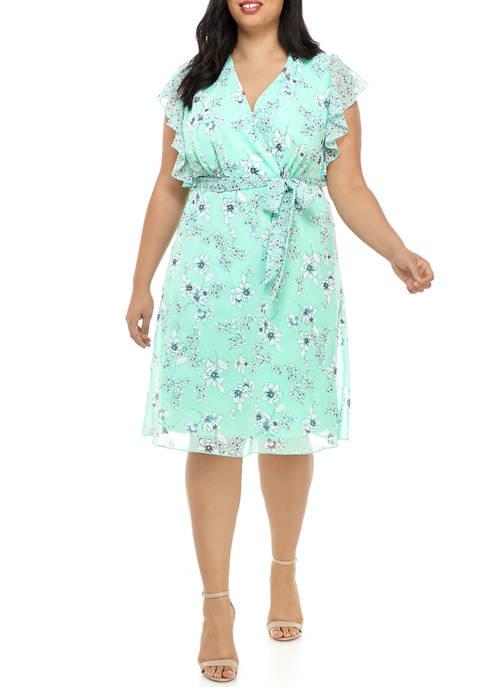 Plus Size Ruffle Sleeve Floral Wrap Dress