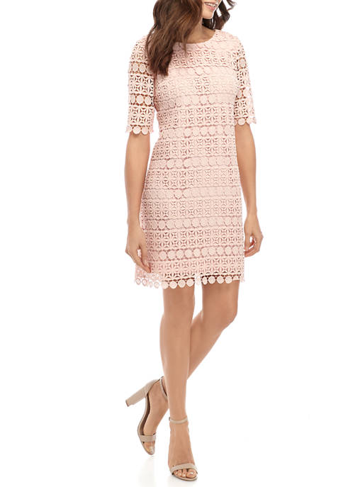 Sandra Darren Womens Elbow Sleeve Circle Lace Sheath