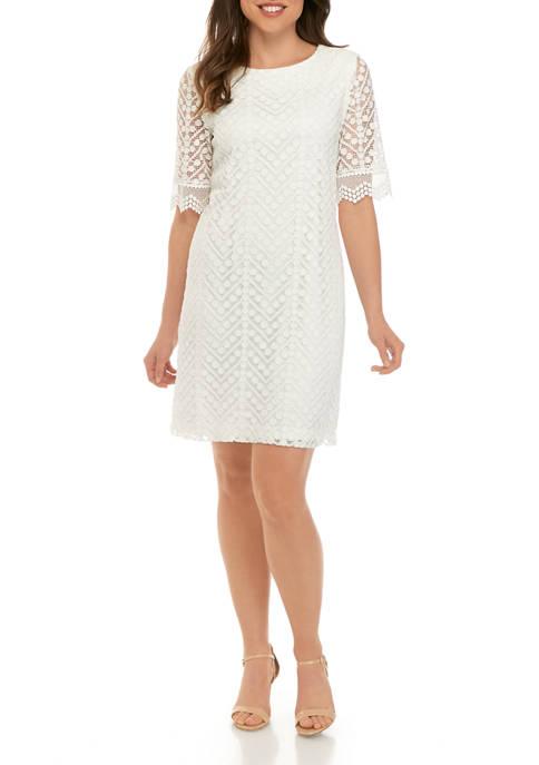 Womens Elbow Sleeve Chevron Dot Lace Dress