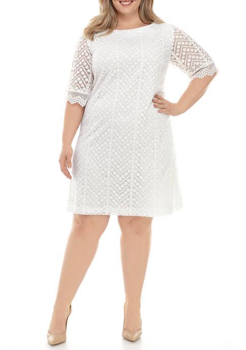 Sandra Darren Plus Size Elbow Sleeve Chevron Dot
