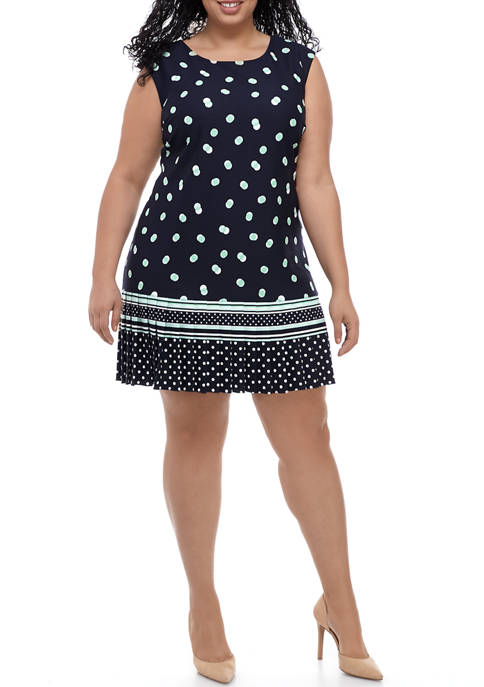Plus Size Sleeveless Dot Border Pleat Hem Dress