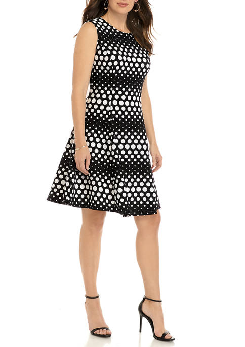 Womens Sleeveless Varying Dot Fit and Flare Dress