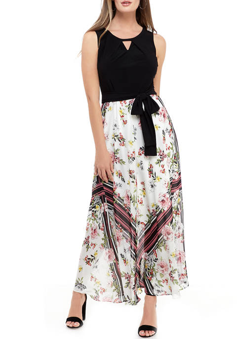 Womens Floral Print Skirt Maxi Dress