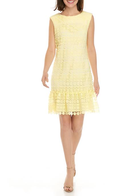 Womens Ruffle Hem Circle Lace Shift Dress