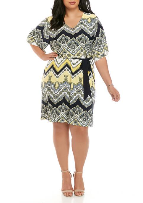 Plus Size Paisley and Chevron Kimono Sleeve Dress